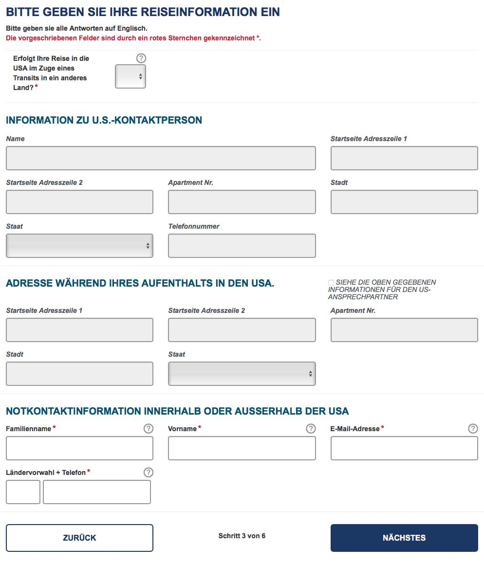 ausgefüllte formular englisch