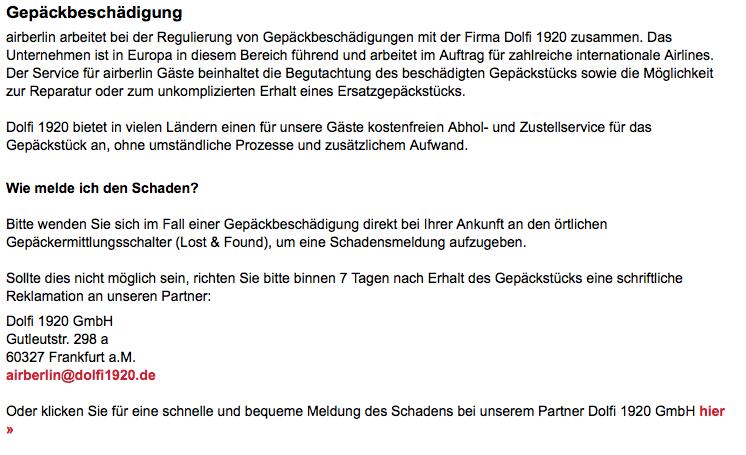 Gepäckbeschädigung Air Berlin