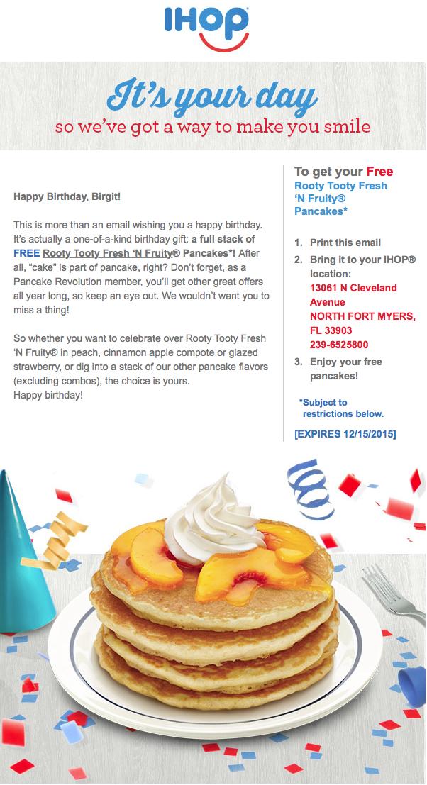 IHOP - Geburtstagsgutschein